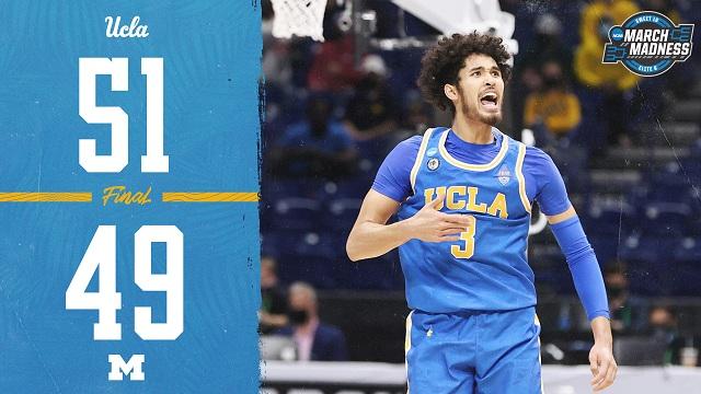 【2021NCAA8进4】UCLA51-49密歇根大学